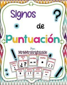 SIGNOS DE PUNTUACION / PUNCTUATION POSTERS IN SPANISH *BILINGUAL* - TeachersPayTeachers.com