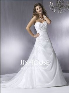 Wedding Dresses - $217.49 - Sexy A-Line/Princess Sweetheart Chapel Train Organza  Satin Wedding Dress with Ruffle  Lace  Beadwork (002000428) jjshouse.com