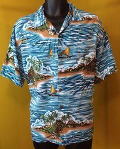 ba1a9db8 Big Dogs Men's Hawaiian Camp Shirt Size Large Hawaiin Island Floral design  Top Hawaiian Print,
