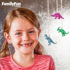 Dino-Mite Dinosaurs: It's easy to turn plastic toys into glittery Jurassic jewel ornaments. (Need to remember this for when Leo is done with his bin of animals.)