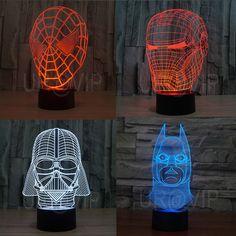 Spider Man Iron Man Batman Darth Vader 3D Illusion LED Bulbing Table Lamp Night Light
