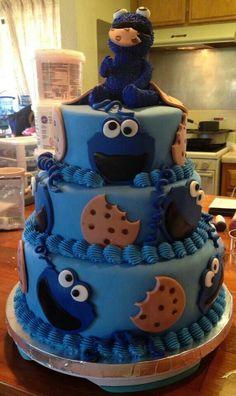 Cookie Monster Cake Cookie Monster Cakes, Monster Birthday Cakes, Birthday Cookies, Boys First Birthday Party Ideas, Baby Birthday, June 1 Birthdays, Monster Baby Showers, Fancy Cupcakes, Sesame Street Birthday