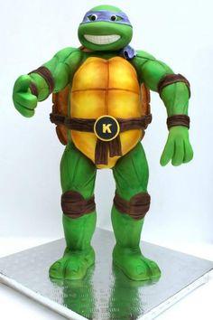 3D Teenage Mutant Ninja Turtle - Cake by Little Wish Cakes Ninja Turtle Birthday, Ninja Turtle Party, 3d Ninja, Novelty Cakes, Cake Tutorial, Party Cakes, Cupcake Cookies, Turtle Cakes, Tmnt Cake