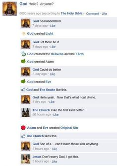 If Facebook Existed In Times Past - God