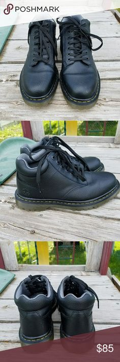Dr. Martens Harrisfield Mens Ankle Boots Brand new without box. Action Leather breathable, long lasting durability, form fitting & great looking without sacrificing price Action Leather is a split leather with a PU surface treatment. Leather lace-up shoe featuring cushioned collar, contrast stitching on welt, and textured rubber sole Air-cushioned slip-resistant Dr. Martens Shoes Boots