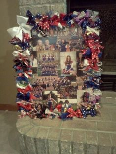 A collage of cheer pictures surrounded by all your old bows and ribbon, or for any other awards and photos - wish i would've thought of this before