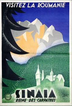 Afis Interbelic at 11.58.32 Vintage Ski Posters, Art Deco Posters, Old Pictures, Old Photos, Peles Castle, Railway Posters, Retro Illustration, Illustrations, Vintage Graphic Design