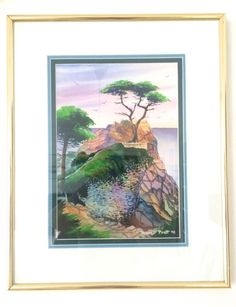 Painting: Vtg Ronald Pratt Watercolor Painting California Coast Signed Dated 1998
