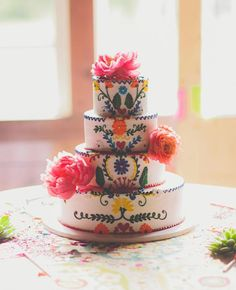 Fiesta Inspired Cake (Topped with Coral Charm Peonies!)