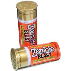 In order to defeat the zombies, one thing you need to make certain: you're not sleepy. And the best way to vanquish tiredness? Zombie Blast Energy shot, of course. It's the only energy shot to come in a shotgun shell bottle.