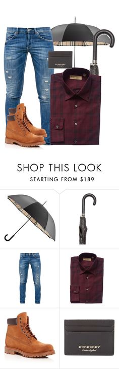 """Mens Burberry"" by abatevintage ❤ liked on Polyvore featuring Burberry, Dondup, Timberland, vintage, men's fashion and menswear"