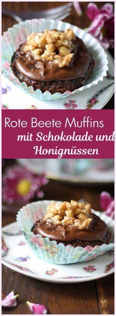 Rezept für Rote Beete Muffins mit Schokolade und Honignüssen ohne Mehl