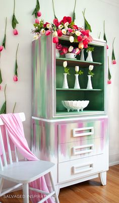 Spring Rainbow Blended Hutch w Dixie Belle Paints