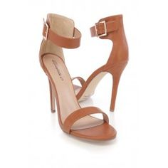 Tan Ankle Strap Single Sole High Heels Faux Leather
