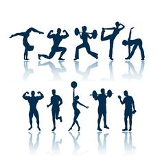 Fitness Silhouette Clip Art Fat got you down - here's some workouts to trim the fat. check us out at http://sittingwishingeating.com