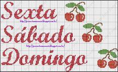 Jana Artes Manuais: Gráfico Semaninha - Cerejinha Bullet Journal, Irene, Cross Stitch Art, Cross Stitch Rose, Butterfly Cross Stitch, Cross Stitch Owl, Home Decorations, Dots