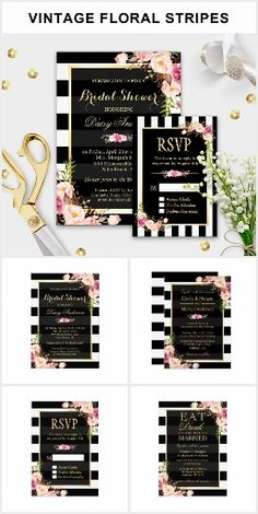 Invitation Suite: Vintage Floral Wrapping Stripes Wedding Invitations