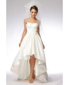 Satin A-line Asymmetrical Beading Wedding Dress # wedding #dresses  @Samantha Collins