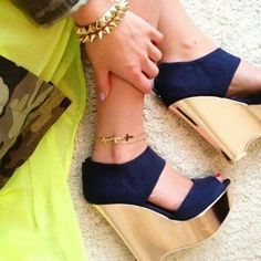 Navy and Gold Wedges