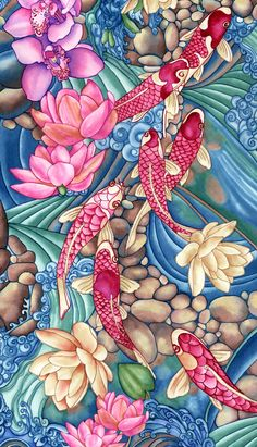 Koi Pond by Vikki Salmela. Inspired by a request for a watercolor, with a Japanese influence and an outdoor feeling, I created a long painting which this is a section of. Koi, swimming along a river or creek, enjoying rocks, waves and lily pads as they meander up stream. I love the small Koi pond in front of my studio, it inspires me as I paint, hearing the water fall. They recognize my voice when I talk with them and drop them some food. Tranquil, serene, calming, inviting…