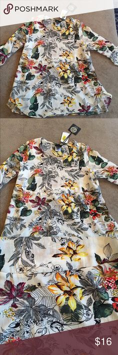 Floral print 3/4 length sleeve shirt Floral top, never worn new with tags. Size large. Purchased from Dillard's. bobeau Tops Blouses