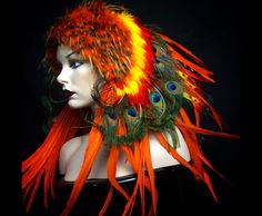 PRESALE Fire breather peacock Warrior feather headdress