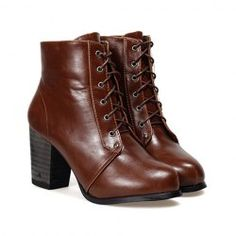 $22.58 Vintage Women's Short Boots With Lace-Up and Pure Color and Chunky Heel Design