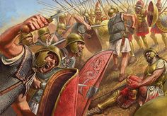 Romans vs Macedonians at the Battle of Cynoscephalae.