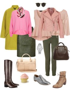 Olive and Pink with shades of Brown neutrals