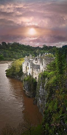 Once Upon A Time - Chepstow castle, Wales. Chepstow is a lovely town, packed with history. It also has a fabulous Waterford Crystal outlet which I always try to visit. Places Around The World, Oh The Places You'll Go, Places To Travel, Places To Visit, Around The Worlds, Travel Destinations, Beautiful Castles, Beautiful Places, Amazing Places