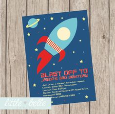 Outer Space Birthday Printable Invitation on Etsy, $9.03