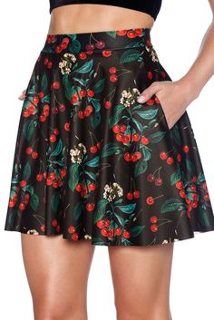 Wild Cherry Pocket Skater Skirt - LIMITED