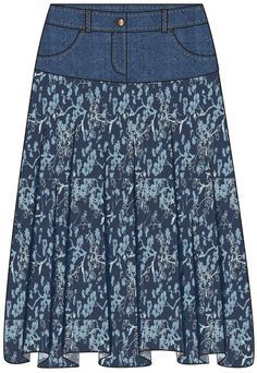 Compra vaqueros viejos en tiendas de segunda mano y adjuntar tejidos a mano de tela de la falda!