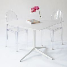 New! the leo square, white work table.  4 prong leg base with laminate top - taylor creative inc