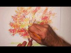 Colored Pencils : Autumn Tree (2) - YouTube