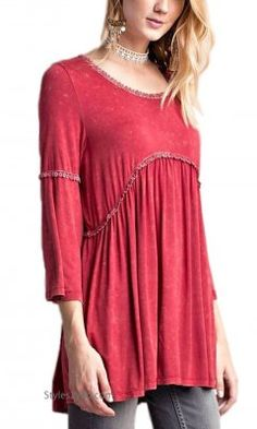 Menlo 3/4 Sleeve Knit Babydoll Tunic Mineral Wash Tomato Easel