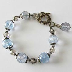 Blue quartz beaded bracelet, faceted gray blue quartz with Swarovski crystals, antique brass, Denim and Lace, beaded jewelry