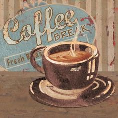 Paul Brent Solid-Faced Canvas Print Wall Art Print entitled Coffee Brew Sign I Coffee Art, I Love Coffee, Coffee Break, Coffee Poster, Coffee Drawing, Coffee Time, Coffee Painting, White Coffee, Morning Coffee