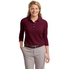 The Custom Branded Pique Polo has an anti-curl collar and resists pilling, fading, wrinkling and shrinking with ease. It has a gently contoured silhouette, double-needle stitching throughout, piping detail inside neckband, a flat knit collar, open hem sleeves, and side vents. It's 4-button placket features pearl white buttons which are dyed to match on black, brown and navy styles.