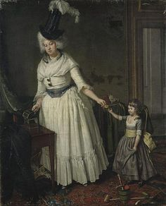 Portrait of Jan van Walré's wife Maria Kops with daughter Catharina Hillegonda, who later married Johannes Enschedé III, by Wybrand Hendriks, 1787
