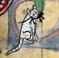 Boy, this cat is awful. | 23 Medieval Cat Paintings That Are So Ugly You Could Cry