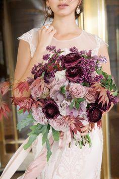 Gorgeous bouquet with Vanderbilt wedding dress by Claire Pettibone…