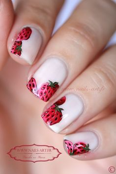 Strawberry nail art. #slimmingbodyshapers   To create the perfect overall style with wonderful supporting plus size lingerie come see   slimmingbodyshapers.com
