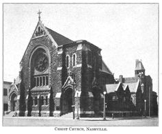 Christ Church in Nashville. Beautiful picture from book - Rankin, Anne. Christ Church, Nashville, 1829-1929. Nashville, Tenn: Marshall & Bruce Co, 1929.  Book is online full-text at FamilySearch books