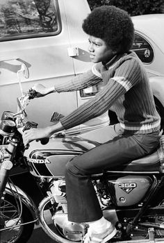 Michael Jackson on a Honda CB350 motorcycle | #celebrities #bikers #riders