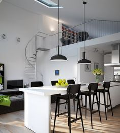 Awesome Rustic And Industrial LOFT Kitchen By Snaidero: Awesome Rustic And Industrial LOFT Kitchen By Snaidero With White Kitchen Island And Black Stools And Pendant Lamps Design Modern Apartment Design, Contemporary Apartment, Modern Interior, Interior Architecture, Interior Design, Modern Contemporary, Modern Design, Zeitgenössisches Apartment, Apartment Interior