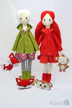 Winter Cloth Doll Rag doll textile felt fox plush toy by Plusheez #handmadedolls