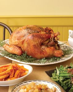 Set out a regal herb-rubbed turkey and a cornucopia of side dishes for an impressive spread that's easier than ever. (Serves 10)main course Herb-Rubbed Turkey side dishes Simple Stuffing White Wine Gravy Roasted Harvest Vegetables Spinach-and-Cheese Puff Herbed Mashed Potatoes dessert Apple Crumb Pie