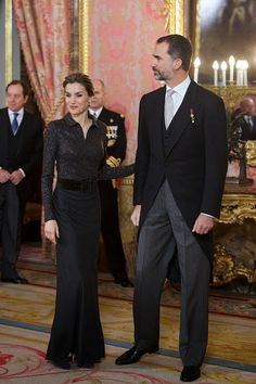 Spanish King Felipe VI and Queen Letizia attend the annual Foreign Ambassadors reception 2015 at the Royal Palace on in Madrid, Spain.