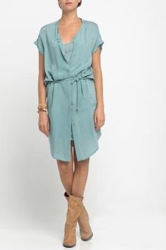 slouchy dress, slouchy boots - I like the pale blue + sand color combo